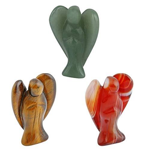- SUNYIK Tiger's Eye Stone Green Aventurine Carnelian Guardian Angel Statues Figurines 1.5