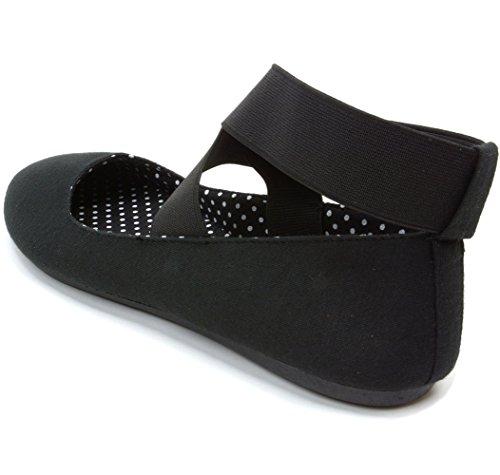 alpine swiss Peony Womens Ballet Flats Elastic Ankle Strap Shoes Black 10 M US by alpine swiss (Image #4)