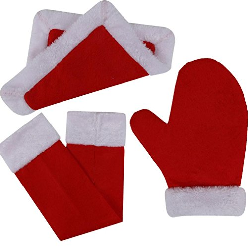 Christmas Homemaker Kitchen Decor,Morecome 3pcs Set Red Napkins Placemats Gloves (Folding Napkins Christmas)