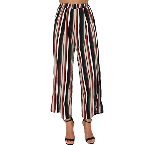 2018 Women's Pants,Stripe Print Mid Waist Casual Loose Bandage Ankle-Length Lady Trousers ()