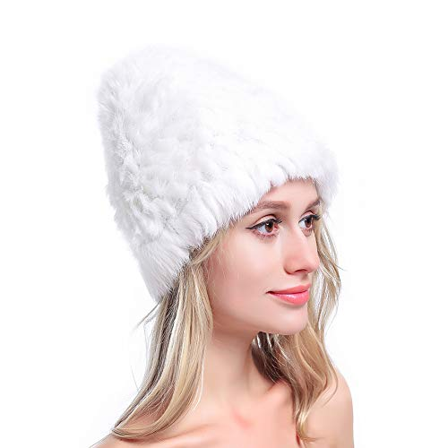 Metrekey Womens Winter Snow Hats Real Rabbit Fur Cap Cold Weather Ladies Beanies White