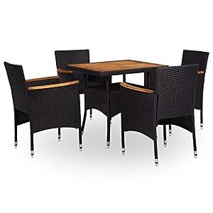 vidaXL Bois d'Acacia Salon de Jardin 5 pcs Mobilier d'Extérieur Ensemble de Salle à Manger de Patio Table et Chaises à…