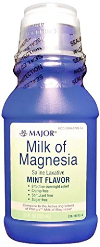 Major Pharmaceuticals 002671 Milk of Magnesia Liquid, 12 oz. Volume, Mint, - Magnesia Mint