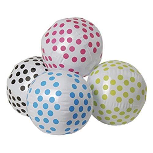 J&F Four (4) Polka Dot Beach Ball Inflates 16