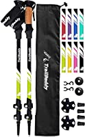 TrailBuddy Lightweight Trekking Poles - 2-pc Pack Adjustable Hiking or Walking Sticks - Strong Aircraft Aluminum - Quick...