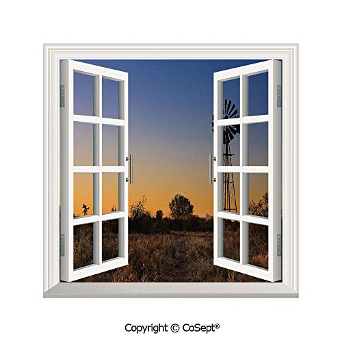 - SCOXIXI Removable Wall Sticker,Sunset in Kalahari Peaceful Outdoors Agriculture Rural Nature Image,Window Sticker Can Decorate A Room(25.86x22.63 inch)