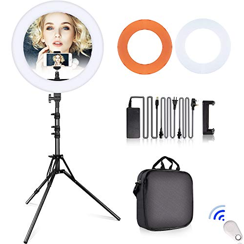 SAMTIAN LED Ring Light 18 inches Outer YouTube Light 240 Dimmable LED Lighting Kit with 2M Light Stand, Cradle Head, Phone Holder for Video Shooting, YouTube Video, Portraiture, Makeup