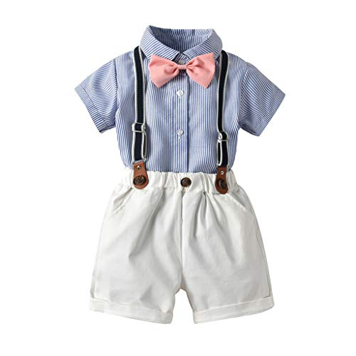 0-5T Toddler Infant Baby Boys Gentleman Outfits Suits, Short Sleeve Shirt+Bib Pants+Bow Tie Overalls Layette Sets for Party Wedding (White, 2-3 Years)