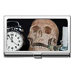 Business Card Case Stainless Steel Card Holder,Clock Alarm time Skull Name Card Holder