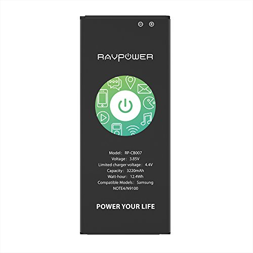 Note 4 Battery RAVPower Replacement Battery for Samsung Note 4 N910, N910U 4G LTE, N910V(Verizon), N910T(T-Mobile), N910A(AT&T), N910P(Sprint), 3220mAh Li-ion Battery [NFC/Google Wallet Capable]