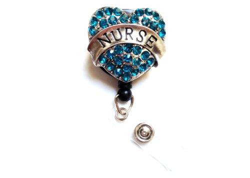 Sparkles! Sparkly Rhinestone Retractable Badge Reel/ ID Badge Holder / Brooch / Pendant / Id Badge Holder (Nurse Turquoise Heart)