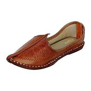 JOPELLE Men's Imprinted Brown Leather Jodhpuri Mojaris