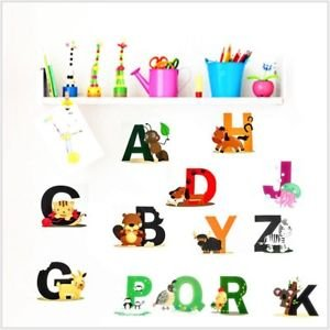 SLB Works Brand New 26 Alphabets Animals Cartoon Removable Wall Stickers For Kids Nursery Room KZ