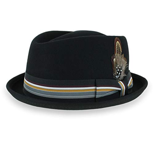 Belfry Crushable Porkpie Fedora Men's Vintage Style Diamond Hat 100% Pure Wool (Medium, Black -