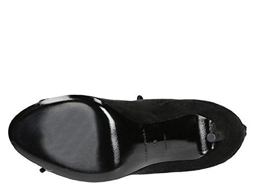 sandalias de tacón alto de Balenciaga en piel de ante negro - Número de modelo: 422825 WAUR0 1000 negro