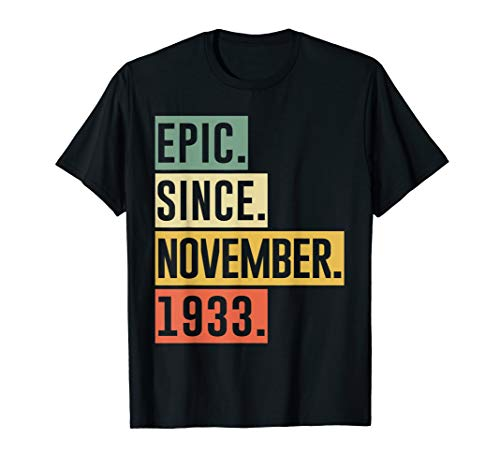 86th Birthday 86 Yrs Old Retro Epic Since November 1933 T-Shirt