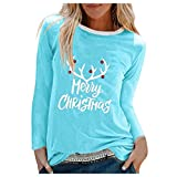 Acilnxm Womens Christmas Graphic Letter Print Blouses Long Sleeve Tops Tunics T-Shirts Blue