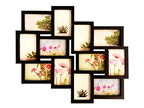 BestBuy Frames Wall Hanging Collage Picture Frame Black,Large 12-4x6 Multiple Opening Frame. Perfect Artistic Photo Frame for Family, Friends, or Travel Photos Fits 4 X 6 Inch Photos.