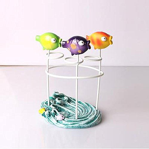 Leop Mediterranean Style Cute Decorative Fish One Piece Bathroom Accessory Set Toothbrush Holder Caddy Resin (Resin Holder Toothbrush)