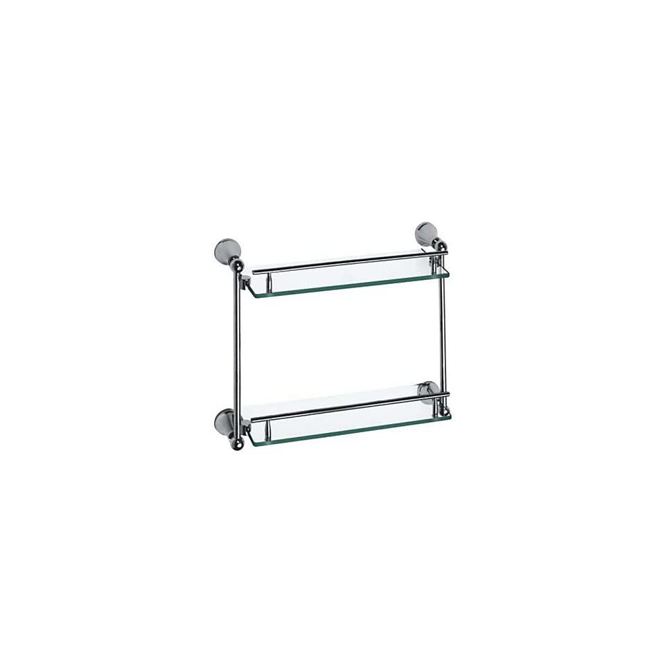 Contemporary Style Chrome Finish Brass Double Layers Glass Shelf