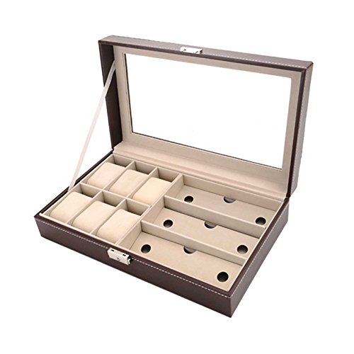 Autoark Leather 6 Watch Box Jewelry Case and 3 Piece Eyeglasses Storage and Sunglass Glasses Display Case - Sunglasses Ideas Storage