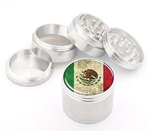 Mexico Flag Design Medium Size 4Pcs Aluminum Herbal or Tobacco Grinder # 50M050416-30