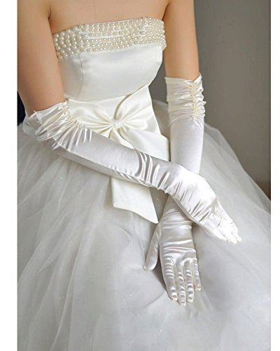 Pearl Beaded Fingerless Gloves (Women Ladies Bridal Stretch Solid Satin Pleated Full Finger Dress Wedding Opera Prom Banquet Long Gloves Pearl Beaded Elbow Length Gloves Formal Special Occasion Mitten Gloves(Pleated Elbow Beige))