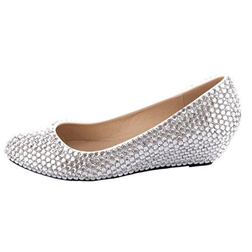 Pearl Velcans Mode Kære Glitrende Rhinestone Og Lejligheder Brude, Prom Og Bryllup Kiler Til Brude, Brudepige, Fest Og Kjole Sko Sølv