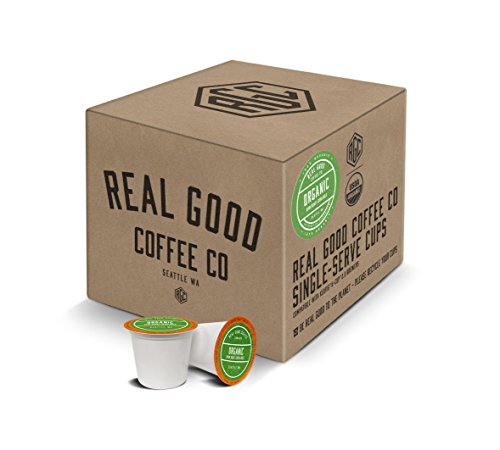 Real Good Coffee Co Recyclable K Cups, USDA Certified Organic Dark Roast, For Keurig K-Cup Brewers, 36 Single Serve Coffee Pods