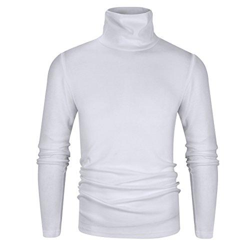 Derminpro Men's Thermal Turtleneck Soft Long Sleeve T-Shirt White Large