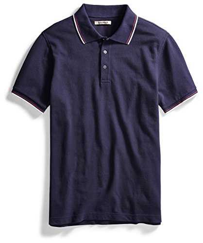Goodthreads Men's Short-Sleeve Washed Pique Polo Shirt, Navy, (Contrast Collar Pique Polo Shirt)