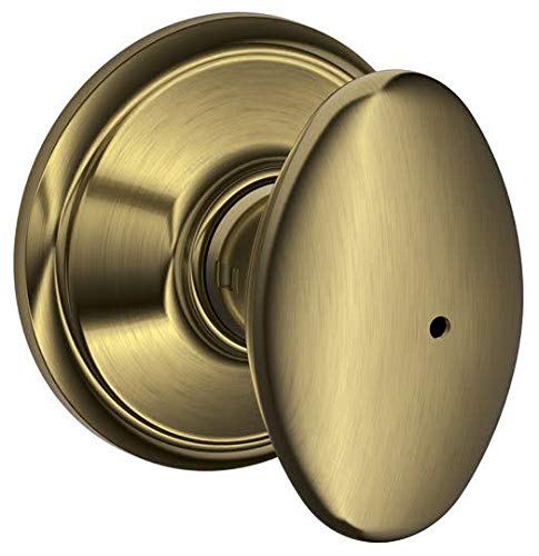 Schlage F40 SIE 609 16-080 10-027 Siena Bed and Bath Knob, Antique Brass