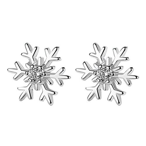 LUOEM Pendientes de Navidad elegante simple copo de nieve orejas Studs regalo para mujeres niñas