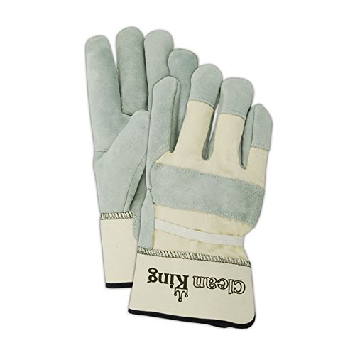 Magid Glove & Safety TB23E-J Clean King TB23E Select Cow Split Leather Palm w/PE Cuff, XL, Gray (Pack of 12)