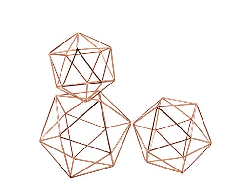 Koyal Wholesale Geometric Decor Shapes, Set of 3 Assorted Sizes for Table Centerpiece Flower Holders, Rose Gold 3D Hanging Decorations, Himmelis Prisms