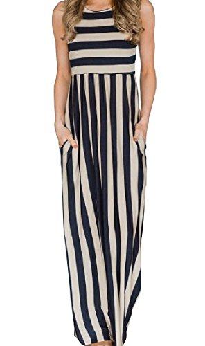Coolred-femmes Longues Poches Tunique Sans Manches Rayure Classique Haut Robe Noire