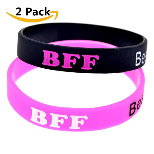 2 Pack Silicone Best Friends Forever BFF Bracelet Band Wristband Bangle Set for Women Men Friendship,20cm for sale