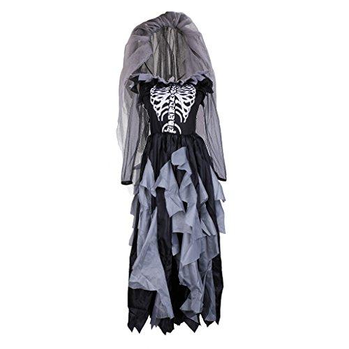 MonkeyJack Lady Zombie Ghost Bride Costume Day Of The Dead Halloween Party Fancy -