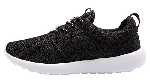 Santimon Chaussures De Course Pour Hommes Léger Flotteur Couple Sport Athlétique Sneaker Noir-blanc