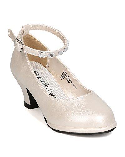 Girls Leatherette Rhinestone Ankle Strap Kiddie Heel GB52 - Ivory (Size: Toddler 9) -