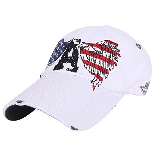 ililily Eagle & USA Flag Embroidery Pre-curved Adjustable Hat Baseball Cap (ballcap-1036-3)