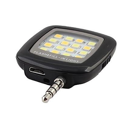 eDealMax RK-05 Negro Jack DE 3,5 mm portátil 16 LED Selfie Flash