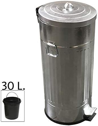 Makingifts Papelera Cubo Basura Reciclaje con Pedal y Tapa Retro Aluminio Gris 30 litros: Amazon.es: Hogar