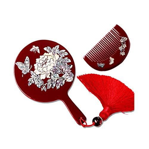 Portable Wooden Vanity Mirror with Handle Princess Beauty Mirror Handmade Mirror, Christmas -