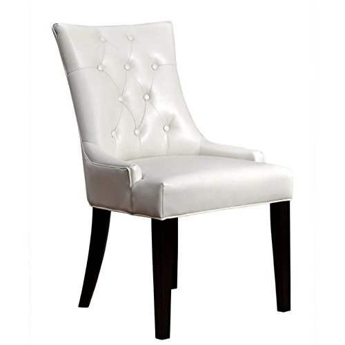 Abbyson Living Isla Leather Dining Chair in Ivory