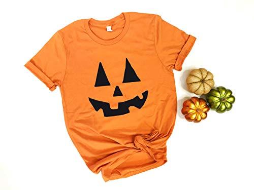 Pumpkin Shirt. Halloween Shirt with Jack-O-Lantern face. Halloween Costume for Women. (Orange, Small) -