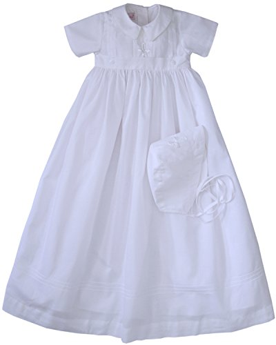 Infant Boys Christening Baptism Gown with Hand Embroidered Cross and Bonnet