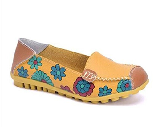 IF FEEL Womens Casual Walking Slip-On Loafers Floral Print Moccasins Driving Flat Shoes (9 B(M) US, ()
