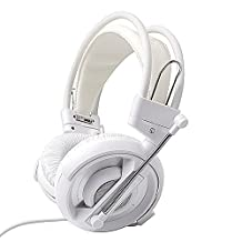 GranVela® H007 Gaming Headset 3.5mm Stereo Headphones with Enhanced Bass, In-line Control and Microphone for PC Computer Game -White