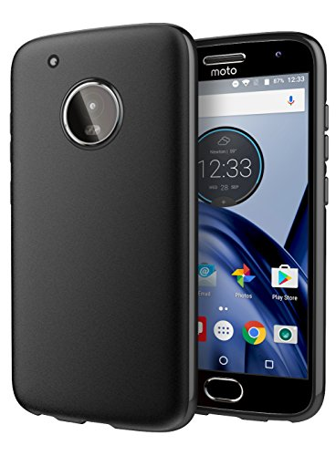 Moto G5 Plus Case, Cimo [Matte] Premium Slim Protective Cover for Motorola Moto G5 Plus (2017) - Black (Moto G Speaker)